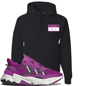 Ozweego Vivid Pink Sneaker Black Pullover Hoodie | Hoodie to match Adidas Ozweego Vivid Pink Shoes | Hello my Name is Mami