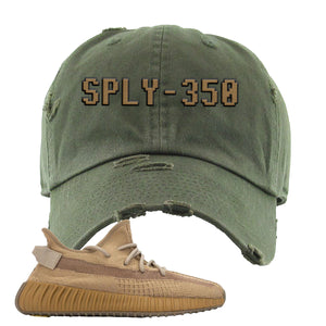 Yeezy Boost 350 V2 Earth Sneaker Distressed Dad Hat To Match | SPLY-350, Olive