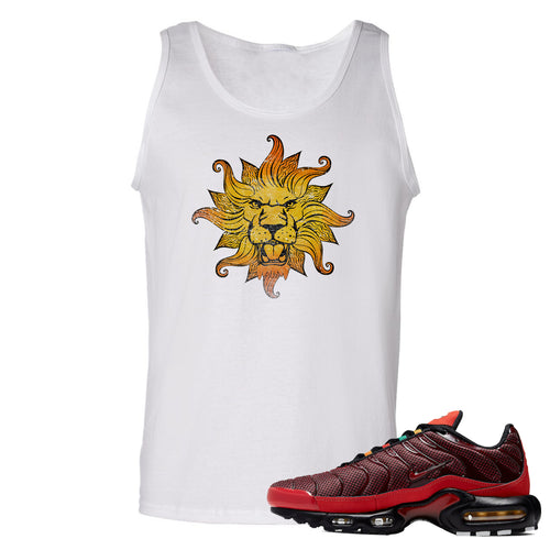 printed on the front of the air max plus sunburst sneaker matching white tank top is the vintage lion head logo