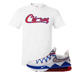 LeBron 17 Low Tune Squad Sneaker White T Shirt | Tees to match Nike LeBron 17 Low Tune Squad Shoes | Chiraq