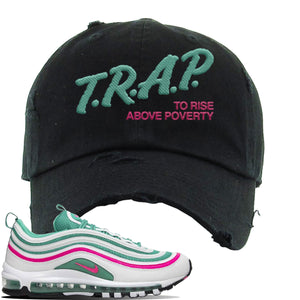 Air Max 97 'South Beach' Sneaker Black Distressed Dad Hat | Hat to match Nike Air Max 97 'South Beach' Shoes | Trap to Rise Above