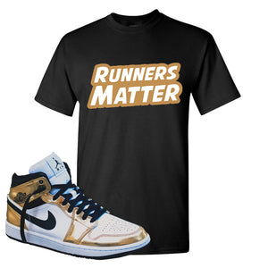Air Jordan 1 Mid SE Metallic Gold T Shirt | Runners Matter, Black