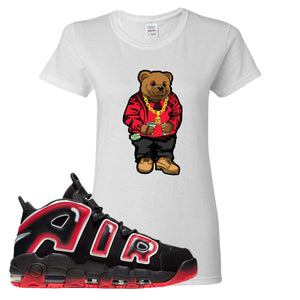 Air More Uptempo Laser Crimson Biggie Bear White Sneaker Hook Up Men's T-Shirt