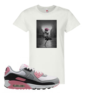 WMNS Air Max 90 Rose Pink Concrete Rose White Women's T-Shirt To Match Sneakers