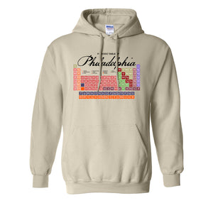 Philly Periodic Table Pullover Hoodie | Philadelphia Periodic Table Natural Pullover Hoodie the front of this hoodie has the periodic table of philly