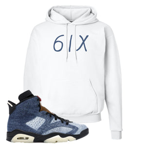 Jordan 6 Washed Denim Hoodie | White, 6ix