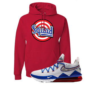LeBron 17 Low Tune Squad Sneaker True Red Pullover Hoodie | Hoodie to match Nike LeBron 17 Low Tune Squad Shoes | Squad