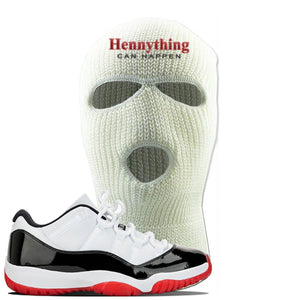 Jordan 11 Low White Black Red Sneaker White Ski Mask | Winter Mask to match Nike Air Jordan 11 Low White Black Red Shoes | HennyThing Is Possible