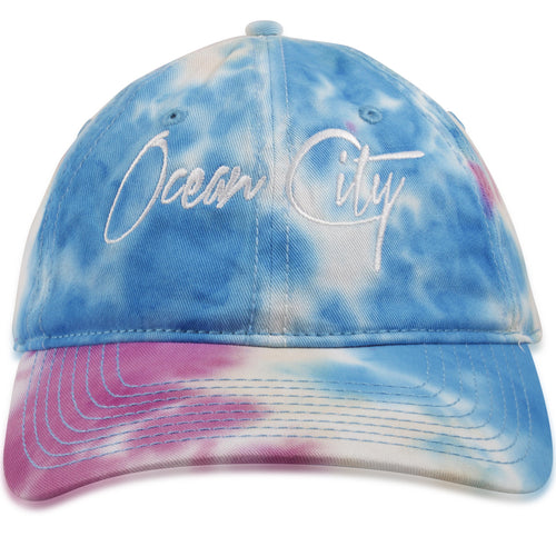 Ocean City, New Jersey Miami Script Rainbow Tie-Dye Adjustable Dad Hat