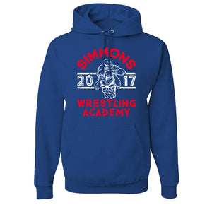 Simmons Wrestling Academy Pullover Hoodie | Ben Simmons Wrestling Academy Royal Pull Over Hoodie the front of this hoodie has the ben simmon wrestling academy design on it