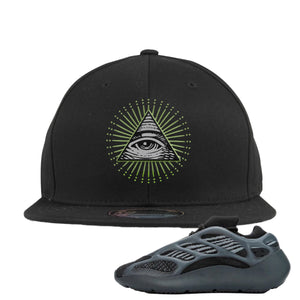 Yeezy Boost 700 V3 Alvah Sneaker Black Snapback Hat | Hat match Adidas Yeezy Boost 700 V3 Alvah Shoes | All Seeing Eye