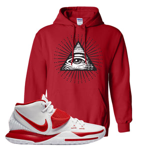 Kyrie 6 White University Red Hoodie | All Seeing Eye, Red