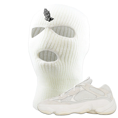 Yeezy Boost 500 Bone White Sneaker Matching Praying Skeleton Hands White Ski Mask