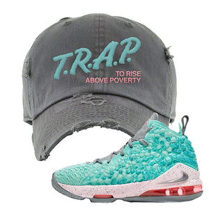 Lebron 17 South Beach Distressed Dad Hat | Trap to Rise Above Poverty, Light Gray