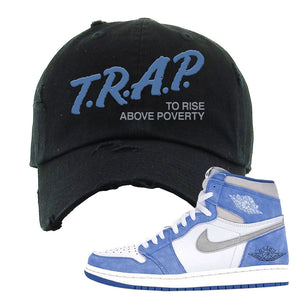 Air Jordan 1 High Hyper Royal Distressed Dad Hat | Trap To Rise Above Poverty, Black