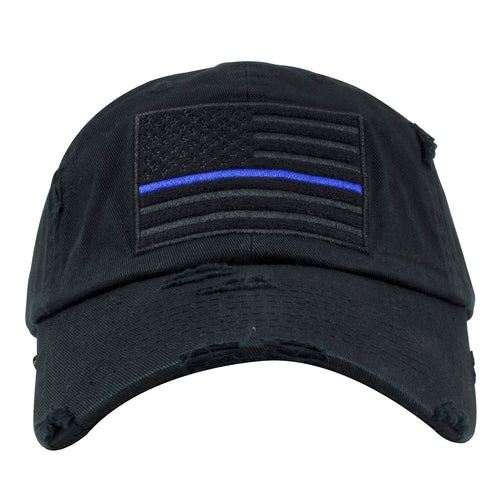 Blue Lives Matter Police Support Black Distressed Dad Hat