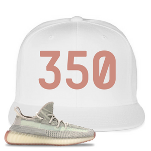 Yeezy Boost 350 V2 Citrin Non-Reflective 350 White Sneaker Matching Snapback Hat
