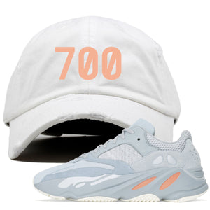 "Yeezy Boost 700 Inertia ""700"" Sneaker Hook Up White Distressed Dad Hat"