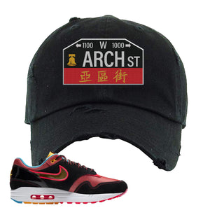 Air Max 1 NYC Chinatown Arch Street Philadelphia Black Distressed Dad Hat To Match Sneakers