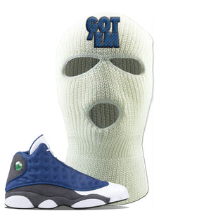 Jordan 13 Flint 2020 Sneaker White Ski Mask | Winter Mask to match Nike Air Jordan 13 Flint 2020 Shoes | Got Em