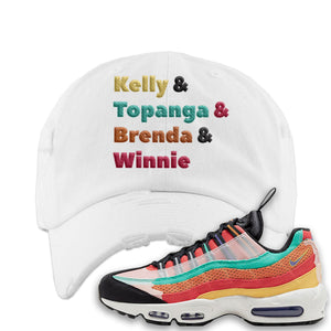 Air Max 95 Black History Month Sneaker White Distressed Dad Hat | Hat to match Air Max 95 Black History Month Shoes | Kelly And Gang