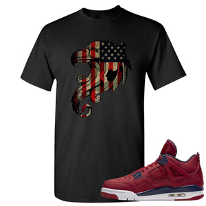 Jordan 4 FIBA Stars and Stripes Eagle Black Sneaker Matching Tee Shirt