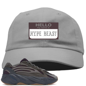 Yeezy Boost 700 Geode Sneaker Hook Up Hello My Name Is Hype Beast Pablo Light Gray Dad Hat