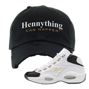 Question Mid Black Toe Sneaker Black Distressed Dad Hat | Hat to match Reebok Question Mid Black Toe Shoes | Hennything Can Happen