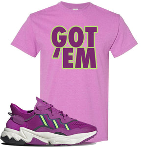 Ozweego Vivid Pink Sneaker Heather Radiant Orchid T Shirt | Tees to match Adidas Ozweego Vivid Pink Shoes | Got Em
