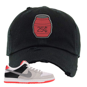 Nike SB Dunk Low Infrared Orange Label Quarter Water Black Distressed Dad Hat To Match Sneakers