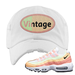 Air Max 95 WMNS Melon Tint Distressed Dad Hat | White, Vintage Oval