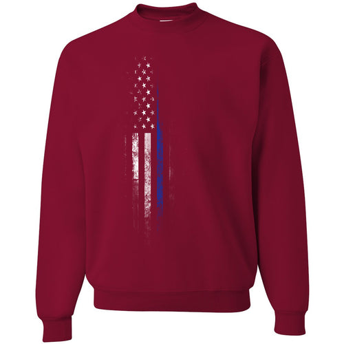 Standard Issue Blue Lives Matter Distressed Red Grunt Life Crewneck Sweater
