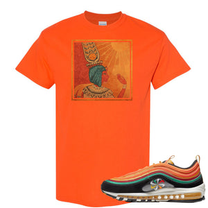 Printed on the front of the Air Max 97 Sunburst Safety Orange sneaker matching t-shirt is the vintage egyptian logo