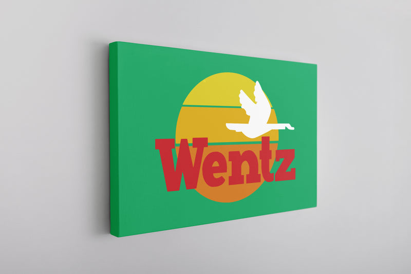 Wentz WaWa Canvas | Wentz WaWa Kelly Green Wall Canvas the front of this canvas has the wentz wawa logo
