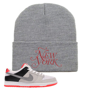 Nike SB Dunk Low Infrared Orange Label Ñew York Light Gray Beanie To Match Sneakers