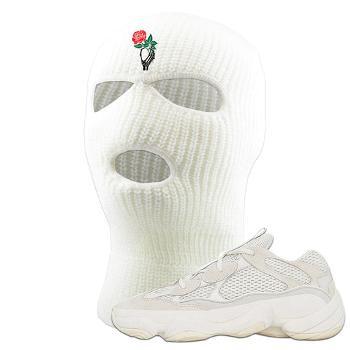 Yeezy Boost 500 Bone White Sneaker Matching Skeleton Hand Rose White Ski Mask