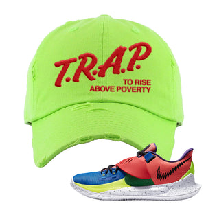 Kyrie Low 3 NY vs NY Distressed Dad Hat | Trap To Rise Above Poverty, Neon Green