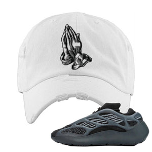 Yeezy 700 v3 Alvah Distressed Dad Hat | White, Praying Hands