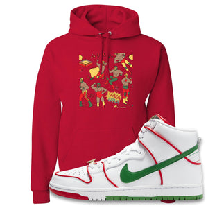 Paul Rodriguez's Nike SB Dunk High Sneaker Red Pullover Hoodie | Hoodie to match Paul Rodriguez's Nike SB Dunk High Shoes | Luchadors