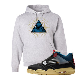 Union LA x Air Jordan 4 Off Noir Hoodie | All Seeing Eye, Ash