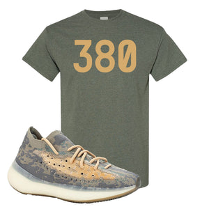 Yeezy Boost 380 Mist Sneaker Heather Military Green T Shirt | Tees to match Adidas Yeezy Boost 380 Mist Shoes | 380