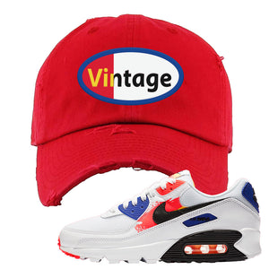 Air Max 90 Paint Streaks Distressed Dad Hat | Vintage Oval, Red