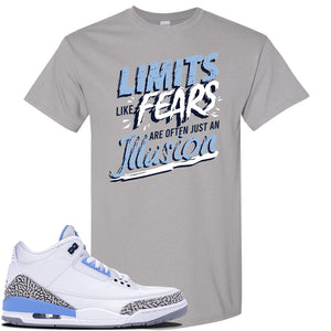 Air Jordan 3 UNC Sneaker Gravel T Shirt | Tees to match Nike Air Jordan 3 UNC Shoes | Limits Like Fears