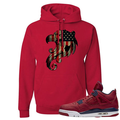 Jordan 4 FIBA Stars and Stripes Eagles Red Sneaker Matching Pullover Hoodie
