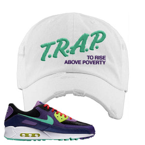 Air Max 90 Cheetah Distressed Dad Hat | Trap To Rise Above Poverty, White