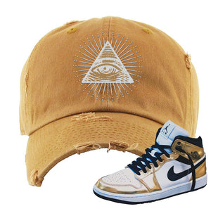 Air Jordan 1 Mid SE Metallic Gold Distressed Dad Hat | All Seeing Eye, Timber