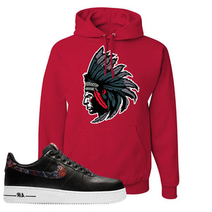 Air Force 1 Low Black Floral Hoodie | Indian Chief, Red