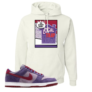 Dunk Low Plum Sneaker White Pullover Hoodie | Hoodie to match Nike Dunk Low Plum Shoes | 90's House Party