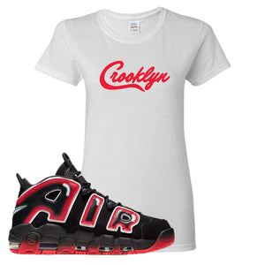 Air More Uptempo Laser Crimson Crooklyn White Sneaker Hook Up Women's T-Shirt