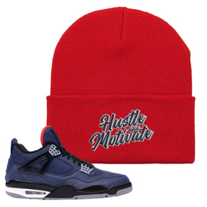 Jordan 4 WNTR Loyal Blue Hustle And Motivate Red Sneaker Hook Up Beanie